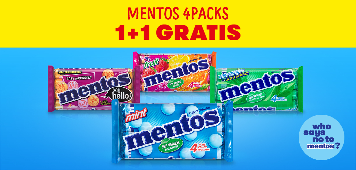 Mentos 4packs 1+1 gratuit
