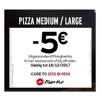 -5€ op medium pizza of large pizza