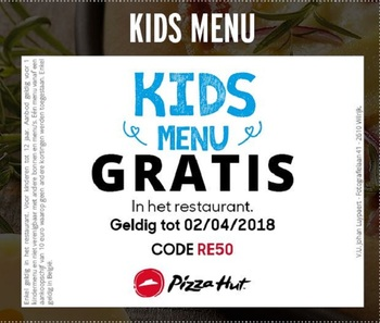 Pizza Hut kortingsbon : Kids menu gratis