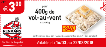 Coupon Renmans : Korting op vol-au-vent