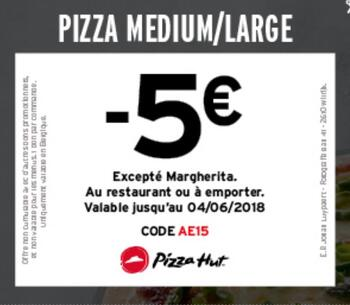 Coupon Pizza Hut : - 5 €: pizza medium/large