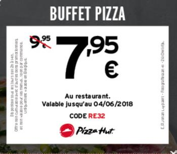 Coupon Pizza Hut : Buffet pizza: 7,95€ au lieu de 9,95€