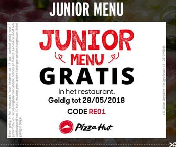 Pizza Hut kortingsbon : Junior Menu Gratis