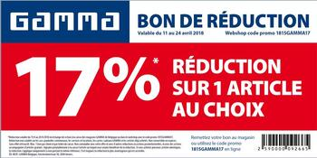 Coupon Gamma : 17% de réduction