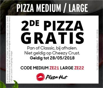 Pizza Hut kortingsbon : 2de pizza gratis