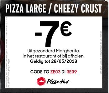 Pizza Hut kortingsbon : -7€ op pizza large