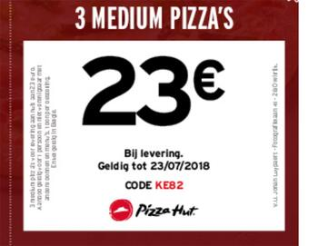 Pizza Hut kortingsbon : 3 medium pizza voor 23 euro