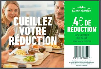 Coupon Lunch Garden : €4 de réduction chez Lunch Garden