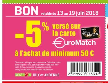 Coupon Match : -5% à l'achat de minimum 50 euros