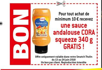 Coupon Smatch : Sauce andalouse gratuit