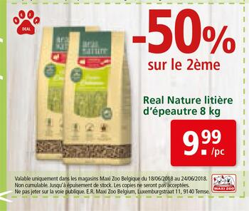 Coupon Maxi Zoo : Real nature litière d'épeautre