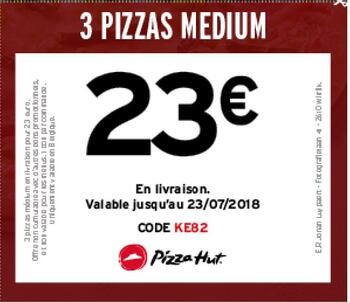 Coupon Pizza Hut : 3 pizzas medium