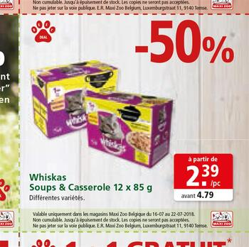 Coupon Maxi Zoo : Whiskas soups & Casserole FR 16-22-7