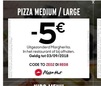 Pizza Hut kortingsbon : pizza medium of large €5