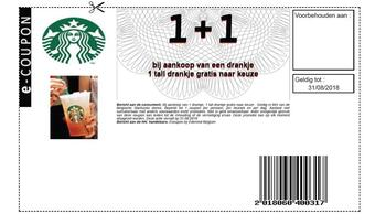 Starbucks Coffee kortingsbon : 1+1 tot 31-8