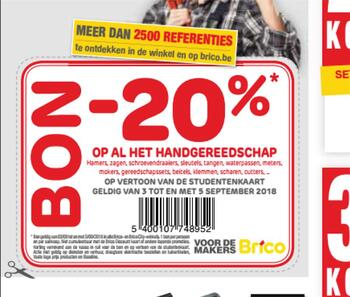 Brico kortingsbon : Brico -20% 3 tot 5  september