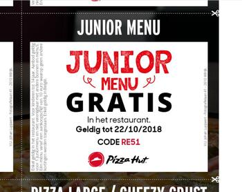 Coupon Renmans : junior menu gratis 22-10