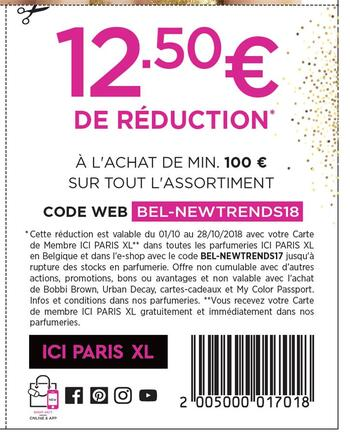 Coupon ICI PARIS XL : 12,50 de réduction en octobre