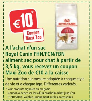 Coupon Maxi Zoo : -10€
