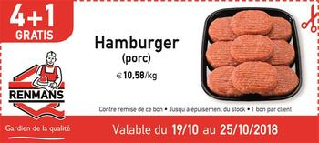 Coupon Renmans : Hamburger