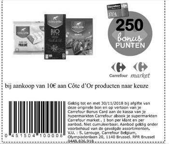 Carrefour kortingsbon : Cote d'or 10€
