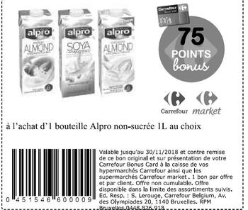 Coupon Carrefour : Alpro non sucree
