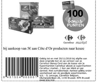 Carrefour kortingsbon : Cote d'or 5€