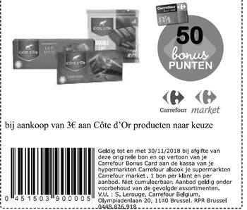 Carrefour kortingsbon : Cote d'or 3€