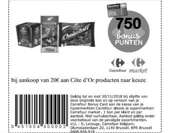 Carrefour kortingsbon : Cote d'or 20€