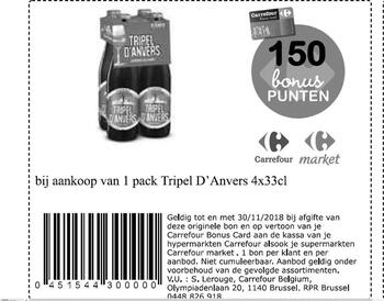 Carrefour kortingsbon : triple d'anvers