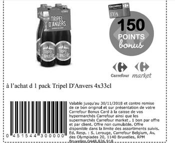 Coupon Carrefour : triple d'anvers