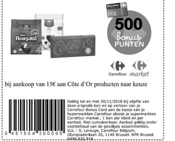 Carrefour kortingsbon : Cote d'or 15€