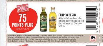 Coupon Delhaize : Filippo Berio
