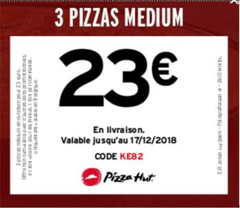 Coupon Pizza Hut : 3 pizza 23€