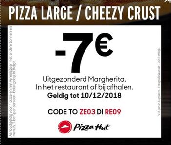 Pizza Hut kortingsbon : -€7