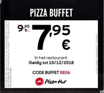 Pizza Hut kortingsbon : Buffet Pizza 7.95