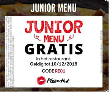 Pizza Hut kortingsbon : Gratis Junior menu