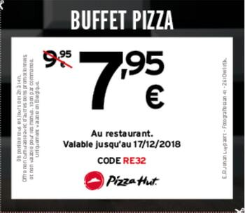 Coupon Pizza Hut : Buffet Pizza 7.95