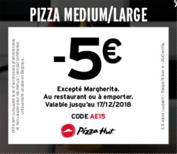 Coupon Pizza Hut : pizza -5€