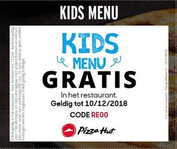 Pizza Hut kortingsbon : gratis Kids menu