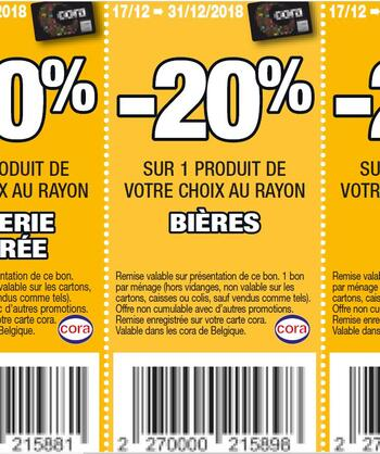 Coupon Cora : bieres 17-31 dec