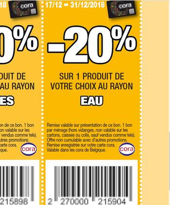 Coupon Cora : eau 17-31 dec