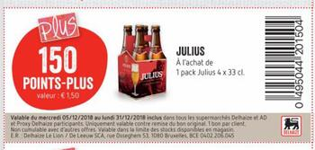 Coupon Delhaize : Julius