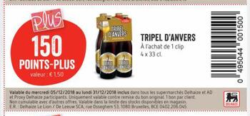 Coupon Delhaize : triple d'anvers