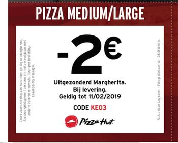 Pizza Hut kortingsbon : -2 sur medium ou large pizza NL tot 11-2