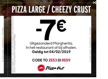 Pizza Hut kortingsbon : -7 op large of cheezy crust