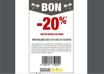 Coupon Brico : 20 pourcent article au choix