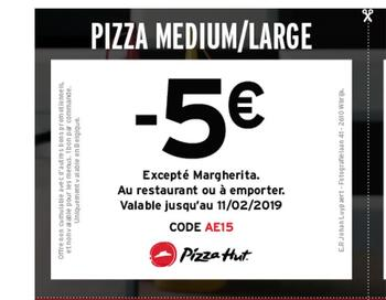 Pizza Hut kortingsbon : -5 sur medium ou large pizza