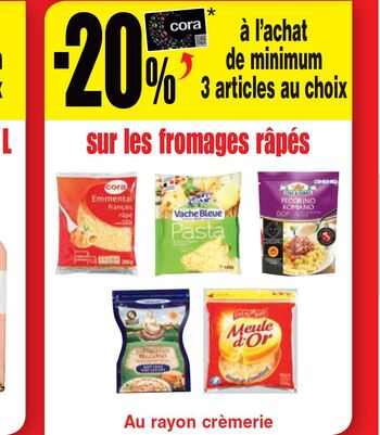 Coupon Cora : fromages rapés