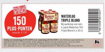 Delhaize kortingsbon : triple blond tot 20-2